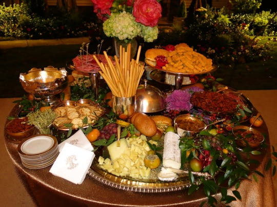 Elaborate Charcuterie Table at the wedding reception.