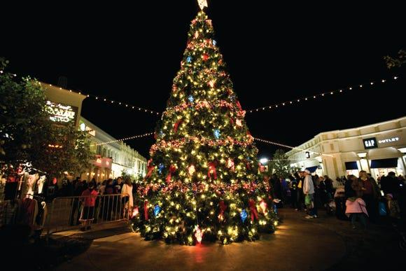 A Christmas tree lights up the Louisiana Boardwalk in Bossier City.