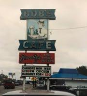 The iconic sign outside Bob Lyons' Bob's Cafe.