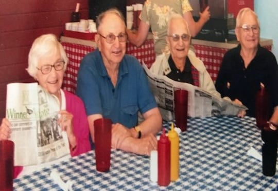 Bob Lyons, right, and some of his siblings in their later years.