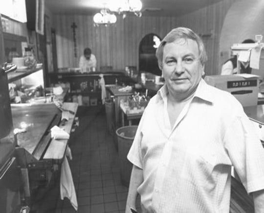 Bob Lyons inside his cafe, undated photo.