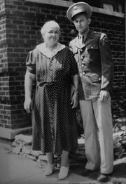 A photo of Leonard Branecki, 95, who served as a cryptologist in the Army during World War II, with his mom before he was deployed.