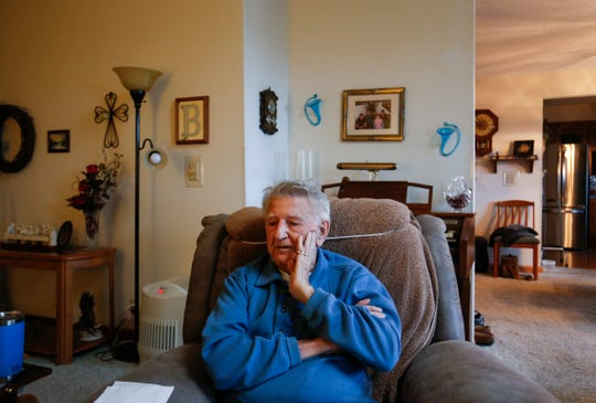 Leonard Branecki, 95, talks about his service during World War II at his home in Stockton on Monday, Nov. 5, 2018.