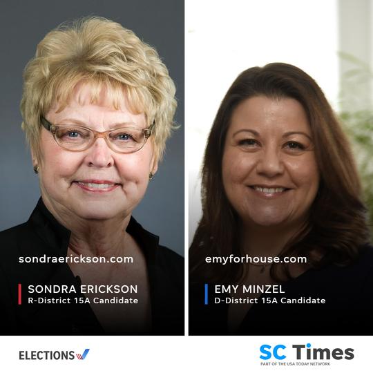 Incumbent Rep. Sondra Erickson faces Democratic challenger Emy Minzel on the House District 15A ticket.