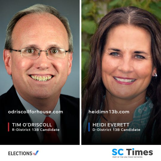 Republican Rep. Tim O'Driscoll will be on the House District 13B ballot with Democrat Heidi Everett.