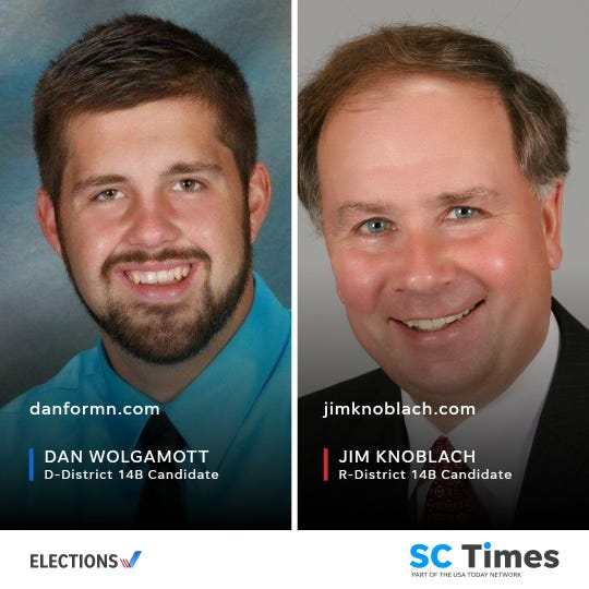 Democrat Dan Wolgamott and Republican Jim Knoblach are on the ballot to represent House District 14B.