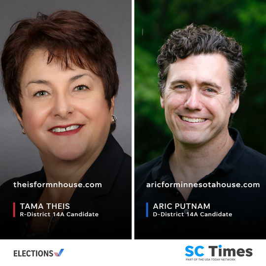 State Rep. Tama Theis, a Republican, faces Democrat Aric Putnam in a bid for House District 14A.
