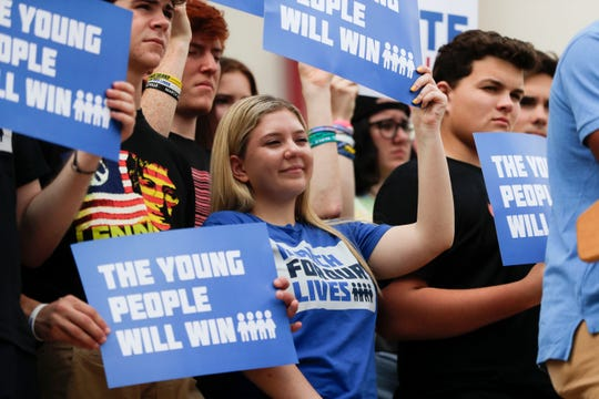 Parkland shooting survivor and activist Emma Gonz‡lez and the March for Our Lives movement held a press conference on the steps of the Florida Historic State Capitol in Tallahassee, Fla. Monday, Nov. 5, 2018, ahead of the 2018 midterm elections.