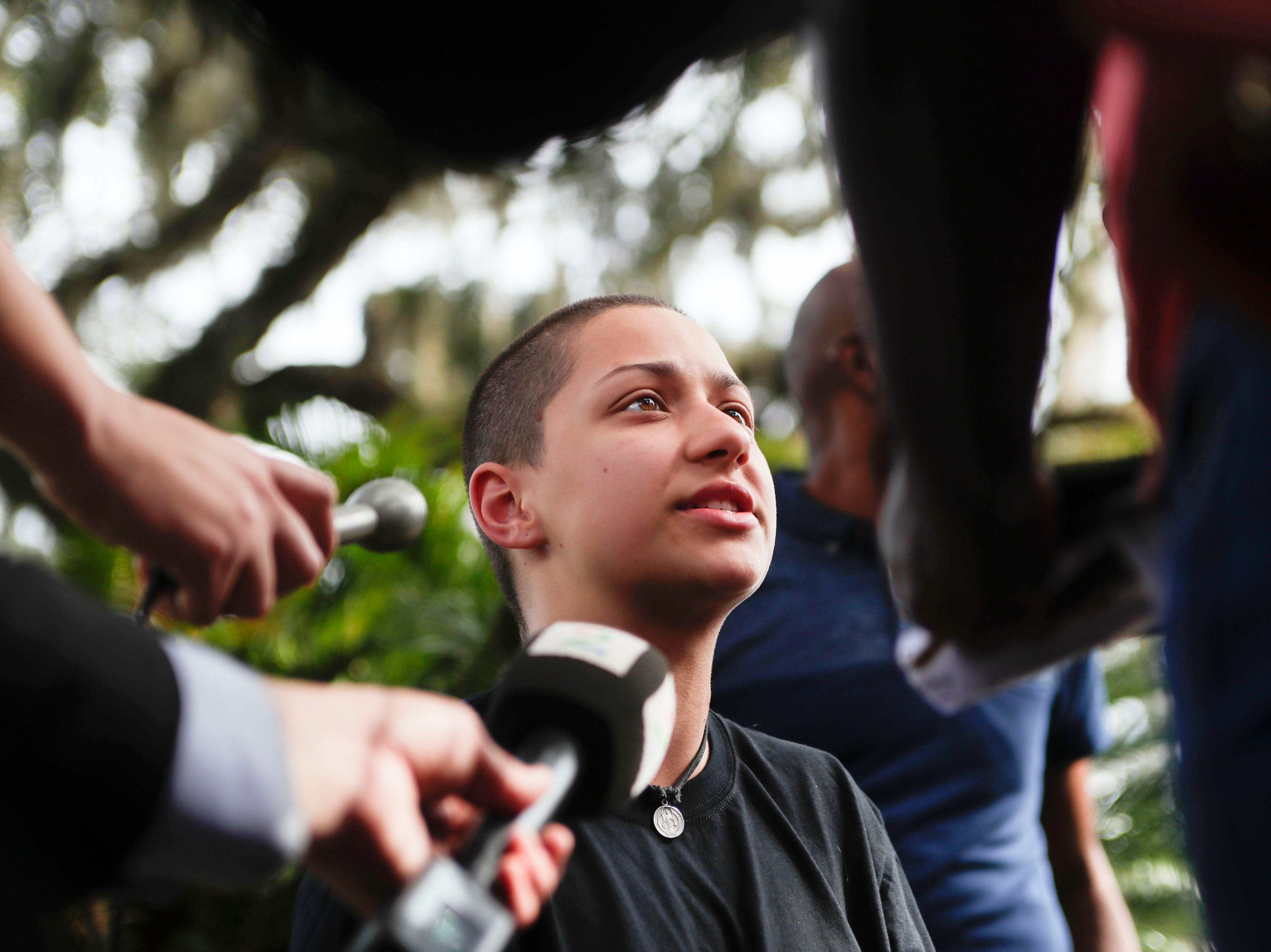 Parkland shooting survivor and activist Emma González speaks to the press after holding a press conference with the March for Our Lives movement on the steps of the Florida Historic State Capitol in Tallahassee, Fla. Monday, Nov. 5, 2018 ahead of the 2018 midterm elections Tuesday.