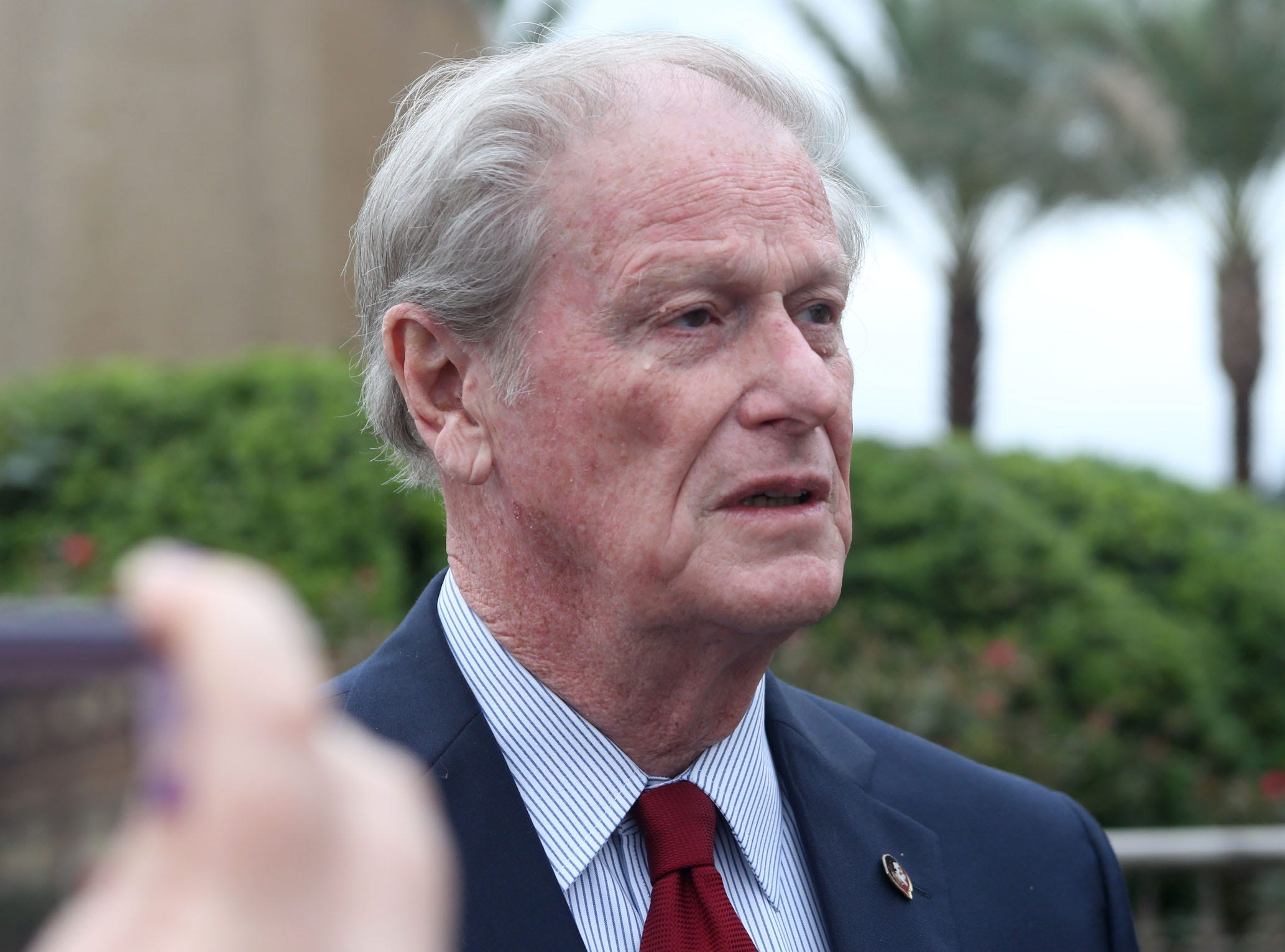 John Thrasher, Florida State University President, speaks at a vigil held at Florida State University in honor of the two lives that were lost on the night of the shooting at Hot Yoga Tallahassee, on Nov. 4, 2018.