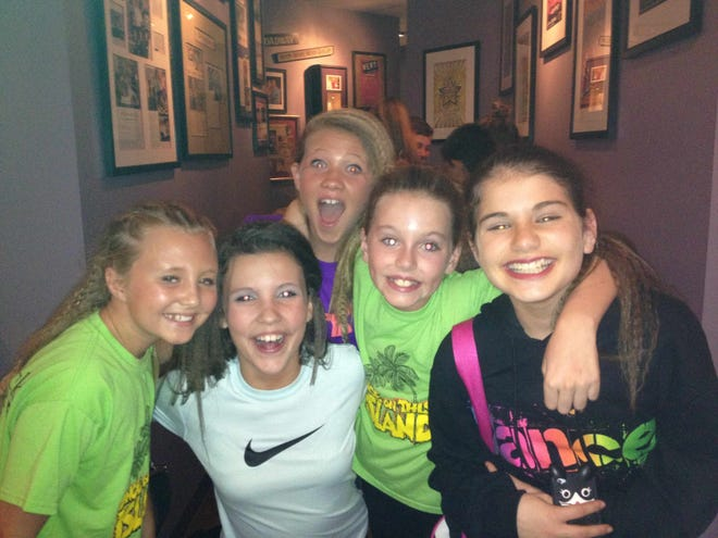 The friends at StarStruck in 2014. From left: Kaleigh, Eliza, Emma and Charlotte  with  Jillian in the back.