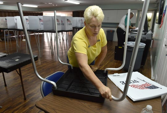 "Cindy Thompson, a poll worker in Indian River County, assembles a kiosk for handicap accessible voting as poll workers prepare Precinct 27 on Monday, Nov. 5, 2018, for Tuesday's midterm election at the Royal Palm Clubhouse, 400 Woodland Drive in the Vista Royale community in Indian River County. ""It feels great, being part of the team,"" Thompson said. ""Getting involved and getting the knowledge about elections, I'm enjoying it."""