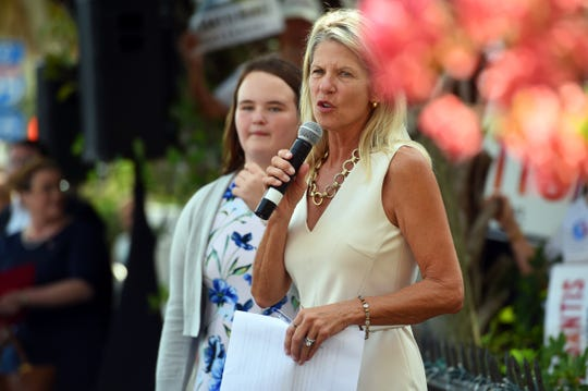 Florida Sen. Debbie Mayfield, R-Rockledge, speaks at a campaign rally for DeSantis in Vero Beach in November.