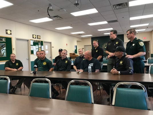 Members of the St. Lucie Sheriff's office that were deployed to Bay County to help after Hurricane Michael blew through the region