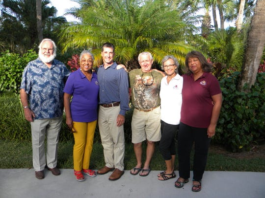 """A Night in the Garden"" committee members, from left, George Blythe, the Rev. Dr. Crystal Bujol, Chair John Young, Jim Parks, Mary Parks and Dr. Elaine Word."