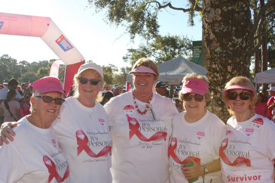 Port St. Lucie Business Women members Marilyn Lawless, Elaine Anderson, Diane Gallagher, Maureen Darcy, Ellen Falk participated in the Making Strides Against Breast Cancer walk.