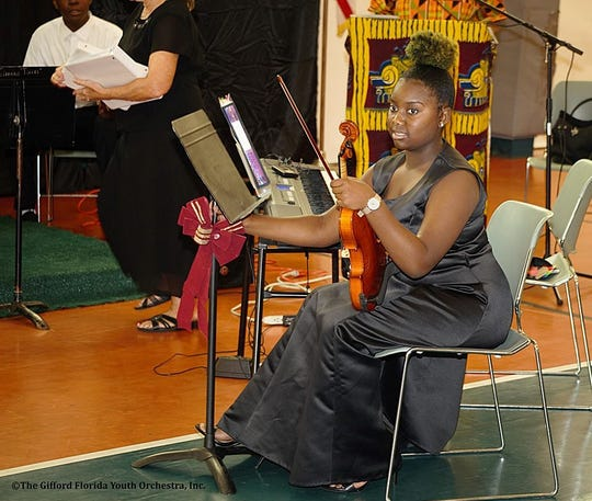 Jada Alexandria Powell gets ready to perform at the Gifford Youth Orchestra's Crystal Concert on Nov. 3.
