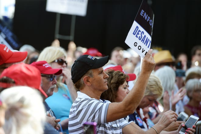 Florida gubernatorial candidate Ron DeSantis made a last-minute campaign stop in Vero Beach on Monday, Nov. 5, 2018 with the support of U.S. Sen. Marco Rubio and Lara Trump, daughter-in-law to President Donald Trump. State Representatives Erin Grall and Randy Fine, State Sen. Debbie Mayfield, Attorney General candidate Ashley Moody, Commissioner of Agriculture candidate Matt Caldwell, and Lieutenant Governor candidate Jeanette Nunez also spoke at the event.