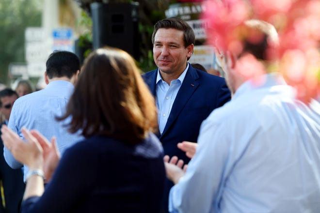 Florida Republican gubernatorial candidate Ron DeSantis greets community members during a last-minute campaign rally at The Patio Seafood Tavern in Vero Beach on Monday, Nov. 5, 2018. U.S. Sen. Marco Rubio and Lara Trump, daughter-in-law to President Donald Trump, where on hand to lend their support to the Republican candidate.