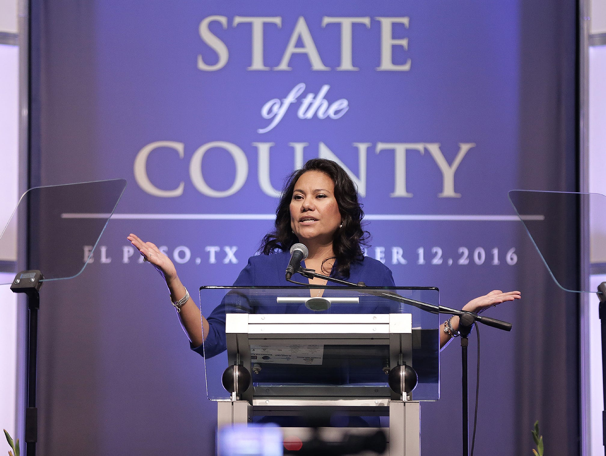 El Paso County Judge Veronica Escobar delivers the State of the County Address Wednesday at the Judson F. Williams Convention Center where she outlined the accomplishments of her office and announced the upcoming budget will not have any tax increases.