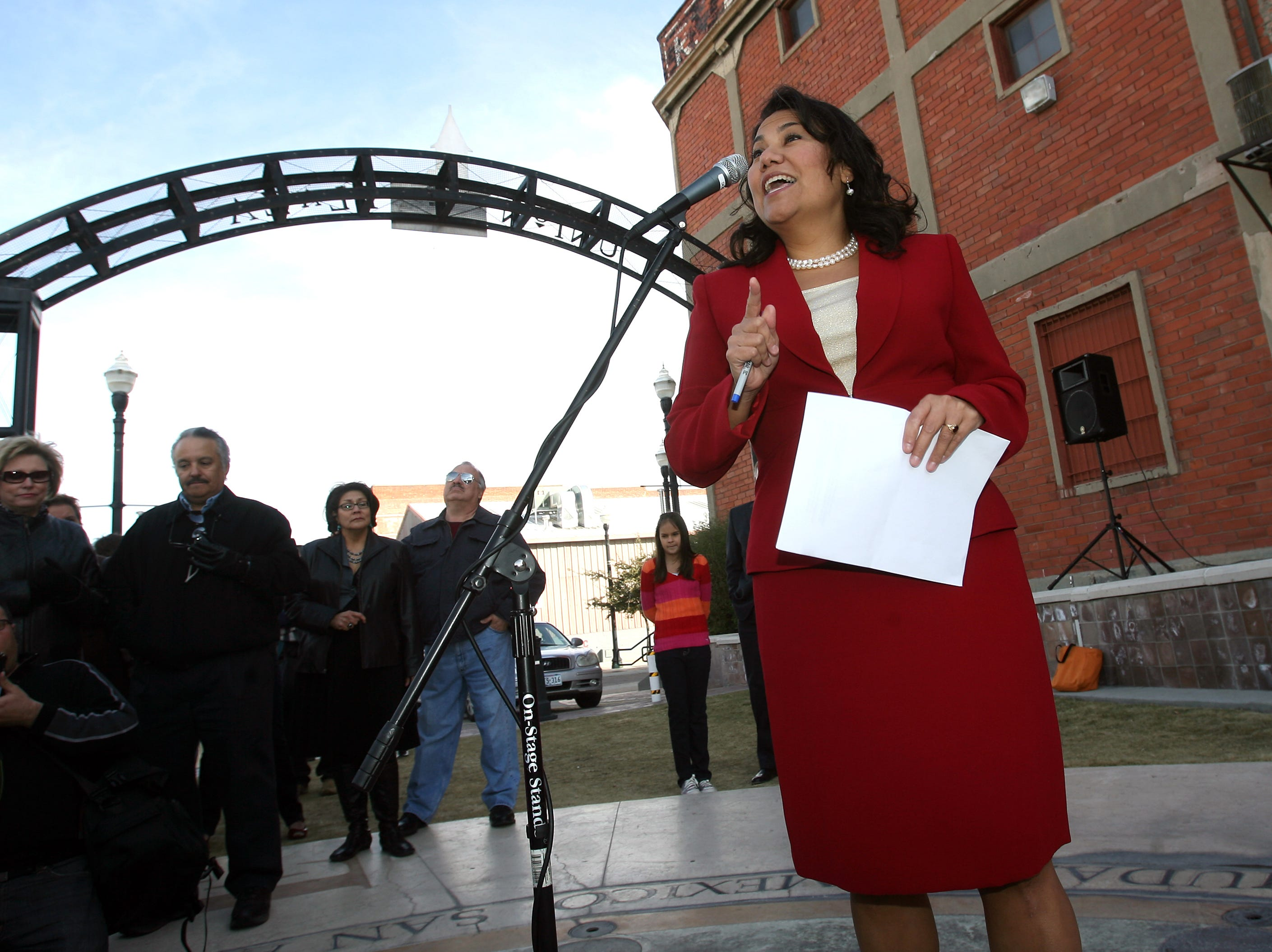 County Commissioner Veronica Escobar announces her candidacy for county judge Saturday at Union Plaza Park in Downtown El Paso.