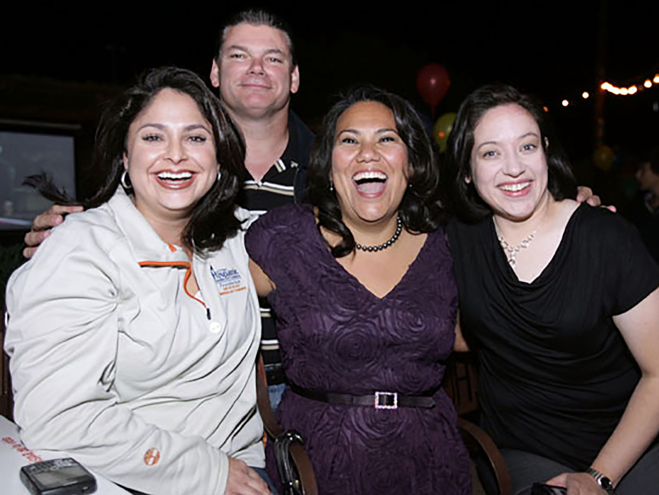 Marisa Marquez, Sheriff Richard Wiles, newly elected County Judge Veronica Escobar and Naomi Gonzalez share a moment after the word that Escobar had beaten her challenger Jaime O Perez.