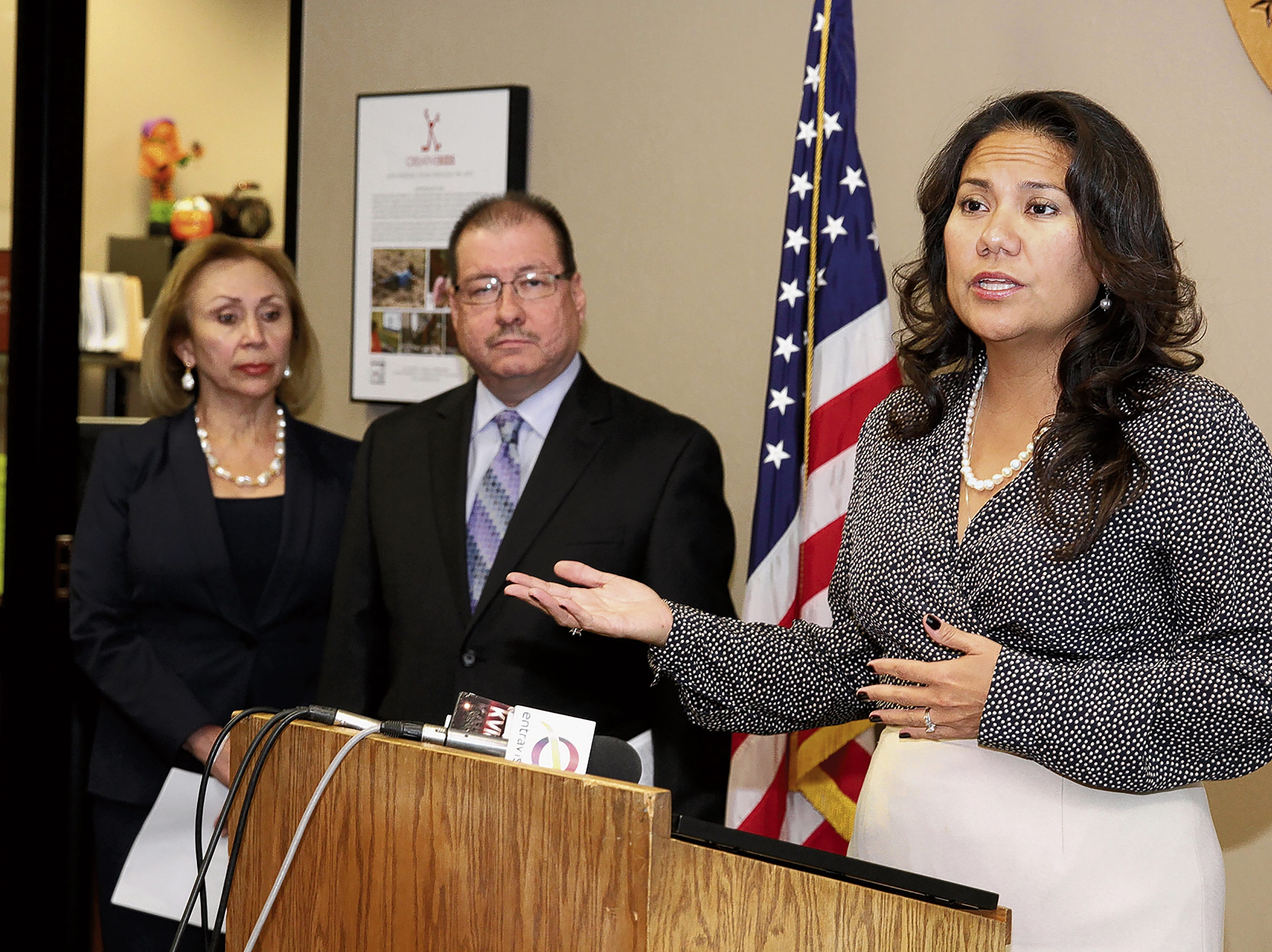 County Judge Veronica Escobar talks about the new cases that have been flagged under the Scofflaw, whcih will prevent an individual from renewing their vehicle registration if they are 90 days delinquent in paying and fines/fees owed on A. B. and C class misdemeanor cases. With Escobar are County Clerk Delia Briones and Chief Deputy Tax Assessor Collector Frank Ortiz.