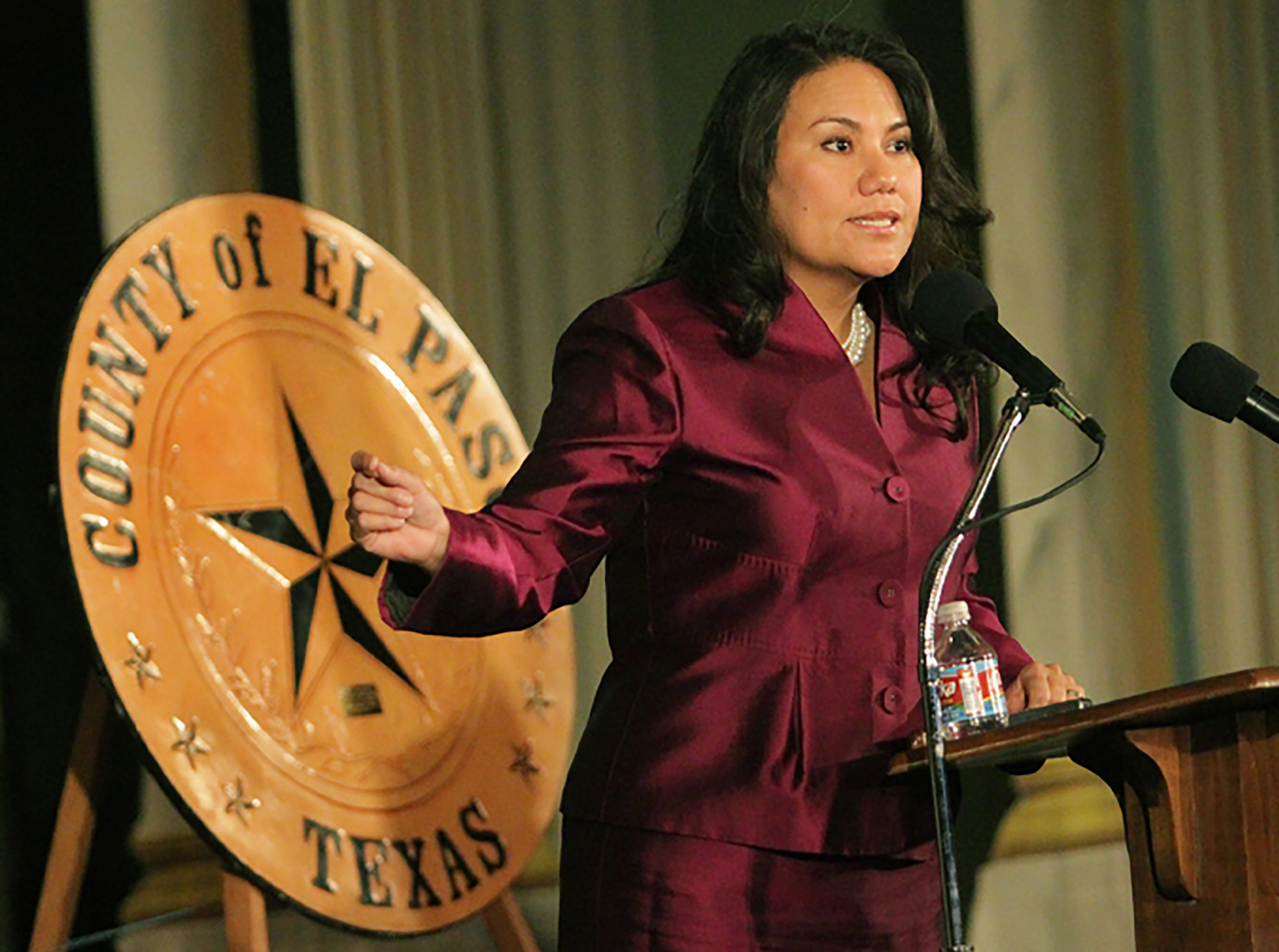 New County Judge Veronica Escobar delivered a speech after taking the oath of office from Judge Ann McClure of the 8th Court of Appeals at the El Paso Scottish Rite Temple in downtown El Paso Saturday.