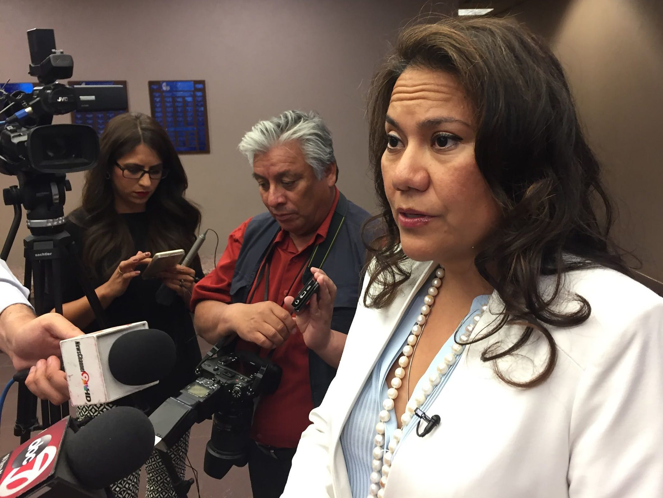County Judge Veronica Escobar addresses the media on a new law targeting sanctuary cities.
