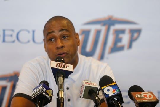 UTEP head coach Rodney Terry addresses the media as he prepares to open action this week for his rookie season as the MIners head coach. Terry and the Miners will open their season against UT Permian Basin Tuesday night in the Don Haskins Center.