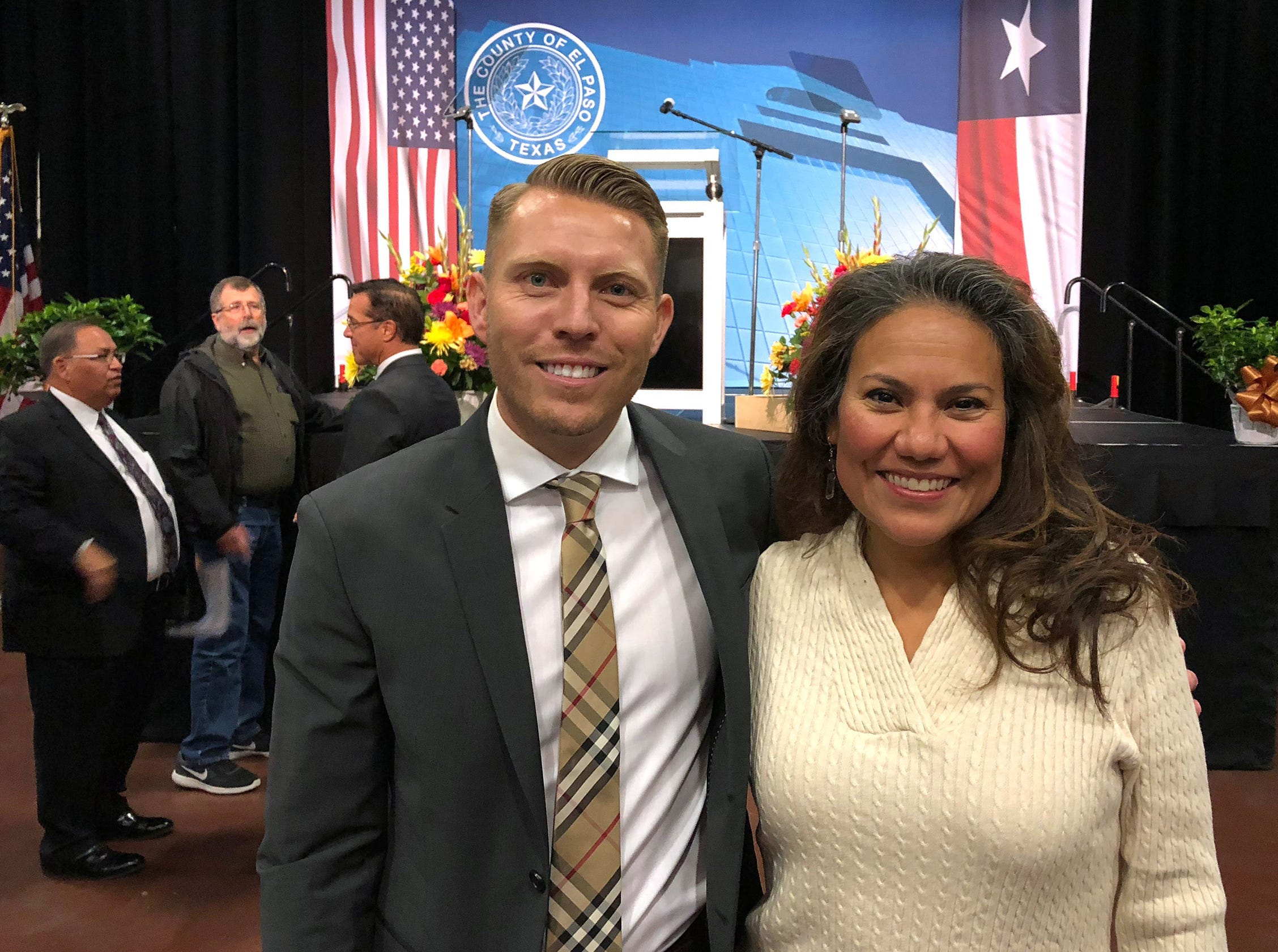 Former County Judge Veronica Escobar stands with current County Judge Ruben John Vogt after he gave his one and only State of the County address Wednesday afternoon at the El Paso Convention Center. The event, attended by dozens of public officials and business leaders, was sponsored by the El Paso Chamber.
