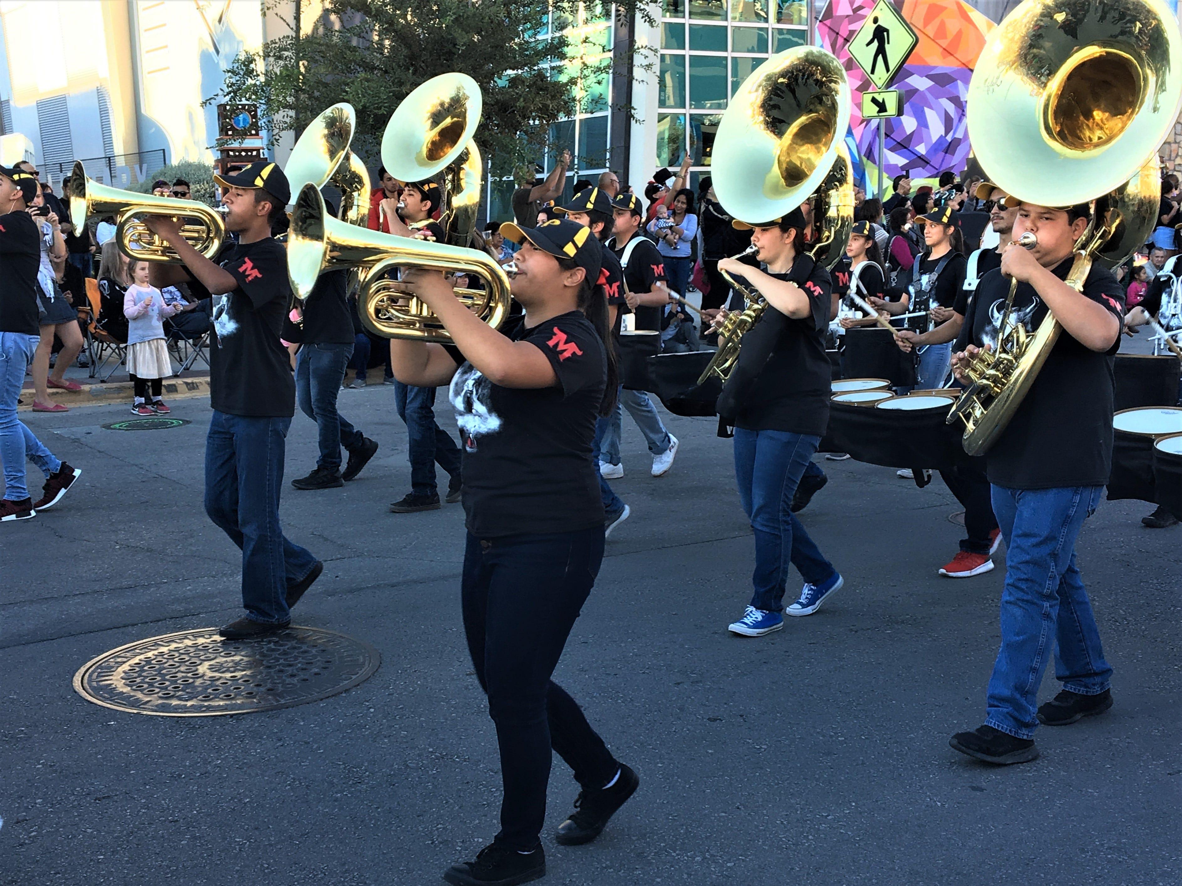 The Parkland High School Matador Band performs at the Dia de los Muertos 2018 parade in Downtown El Paso.