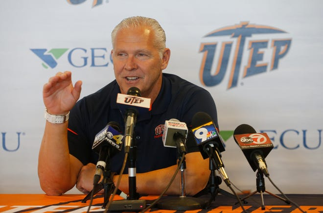 UTEP head coach Dana Dimel addresses the media at his weekly press conference. Dimel was sporting a big after his team defeated Rice over the weekend to break a 20 game losing streak, the longest in the nation.