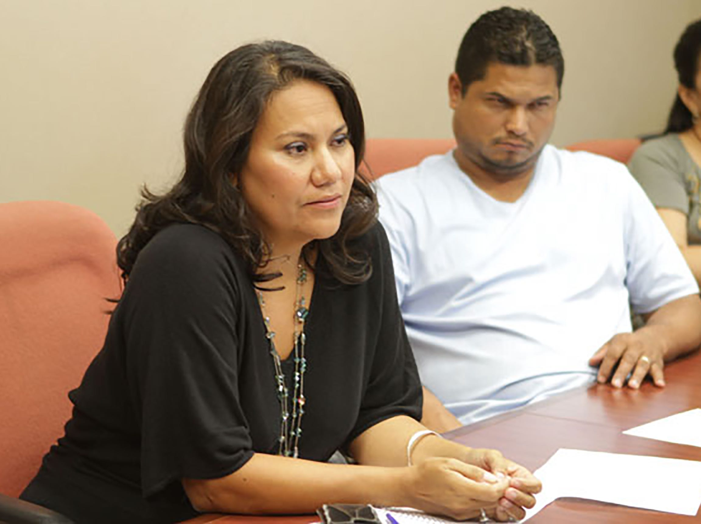 County Judge Veronica Escobar during commissioners court meeting.