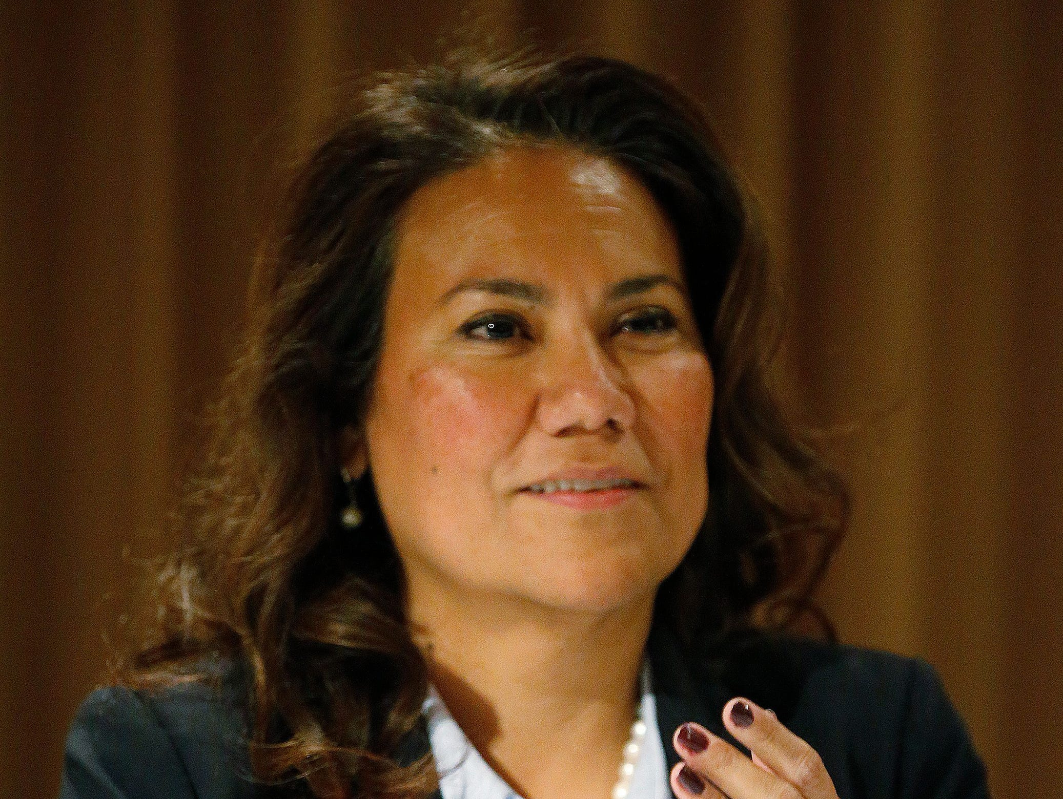 Former County Judge Veronica Escobar attends acandidates forum during her run for congress.
