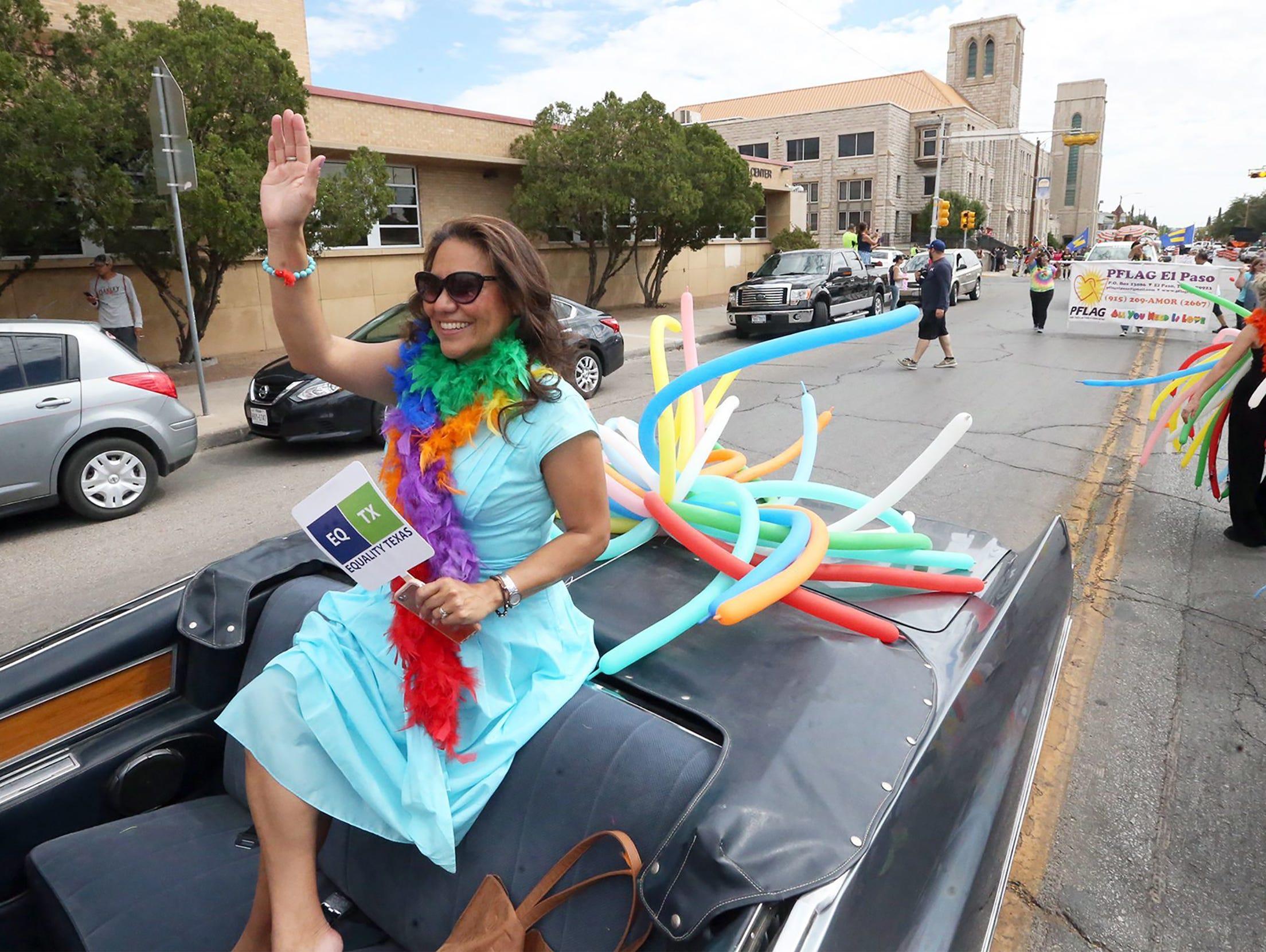 El Paso County Judge Veronica Escobar rides in a convertible in 2017 during Pride Day Parade.