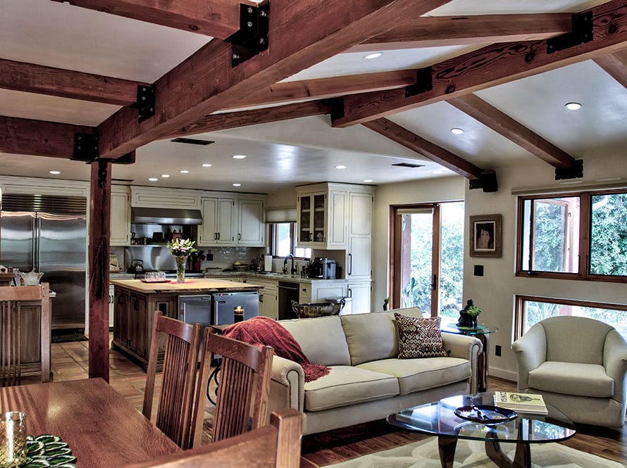 The family room of Saddle Mountain Sanctuary, which has been completely remodeled and is now part of the 22nd annual Ojai Holiday Home Tour & Marketplace on Nov. 10 and 11.