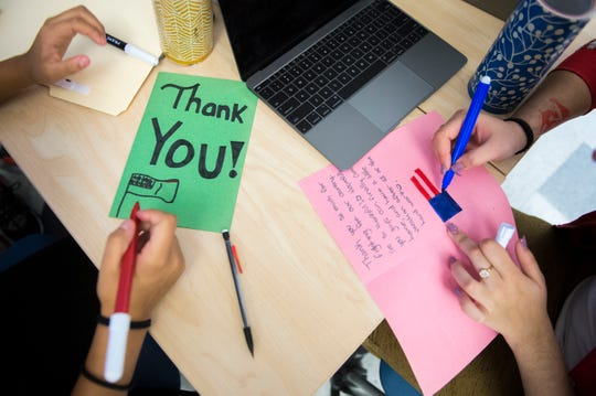 Students work on cards for veterans Monday, Nov. 5, 2018 at Lincoln Avenue School in Vineland, N.J.