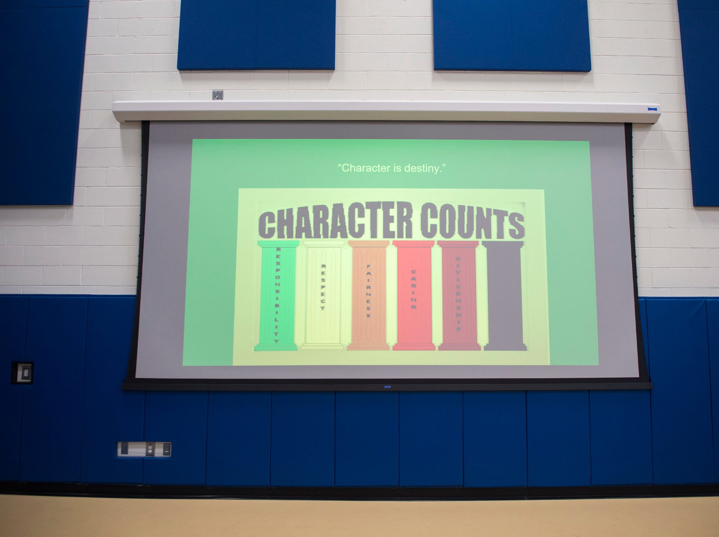 A slideshow presents the 'six pillars of character' Monday, Nov. 5, 2018 at Lincoln Avenue School in Vineland, N.J.