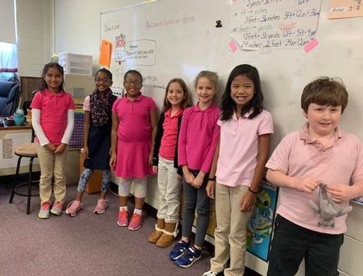 "Students and staff at Cumberland Christian School ""went pink"" for breast cancer awareness on Oct. 31."