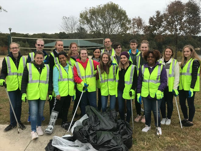 Seniors from Cumberland Christian School partnered with the City of Vineland to clean up South Vineland Park in preparation for the park's dedication on Oct. 26. Students are encouraged to participate in community service activities.