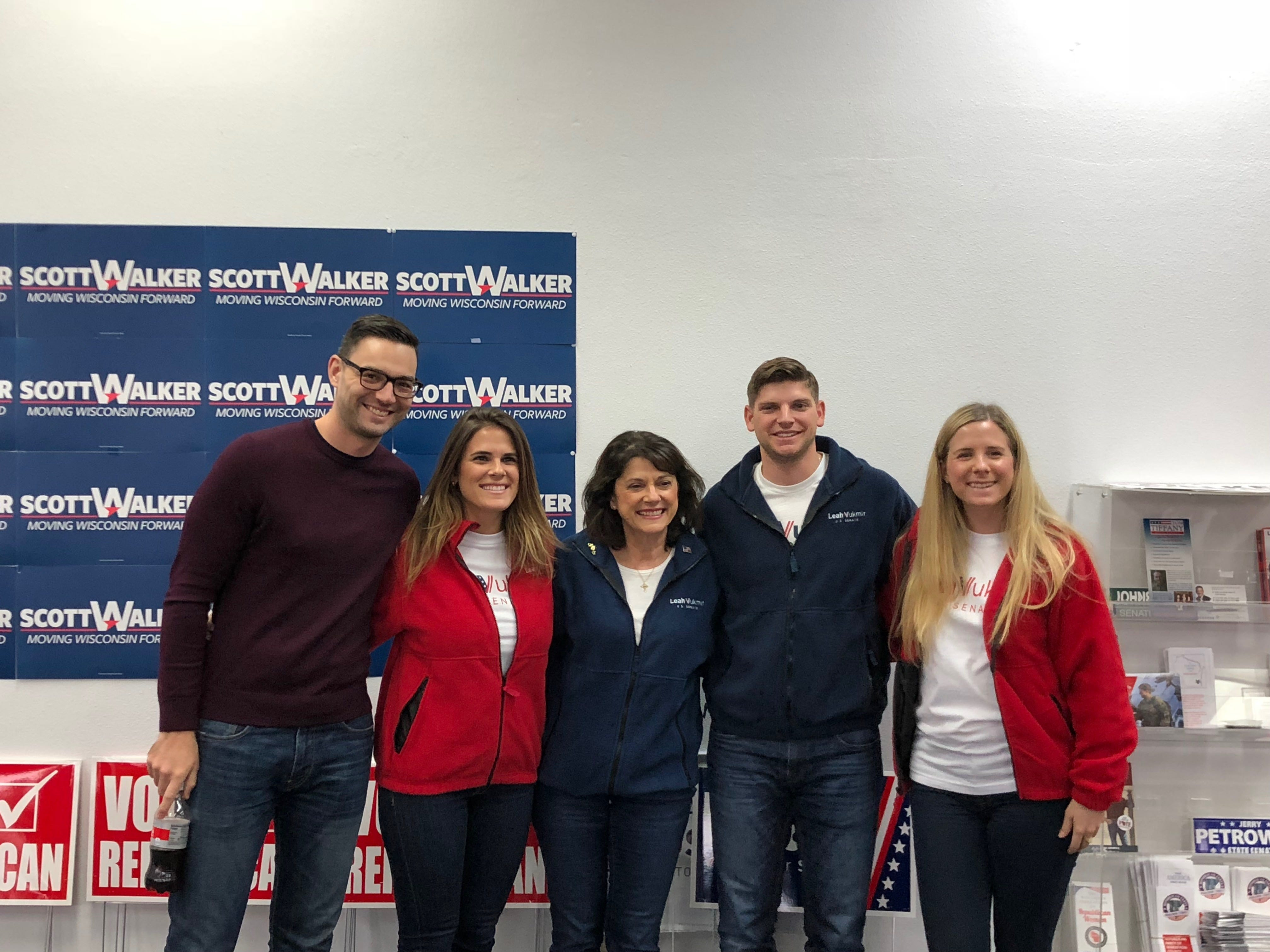 U.S. Senate candidate Leah Vukmir smiles alongside her son, daughter and their significant others on Nov. 5, 2018,  in Weston.