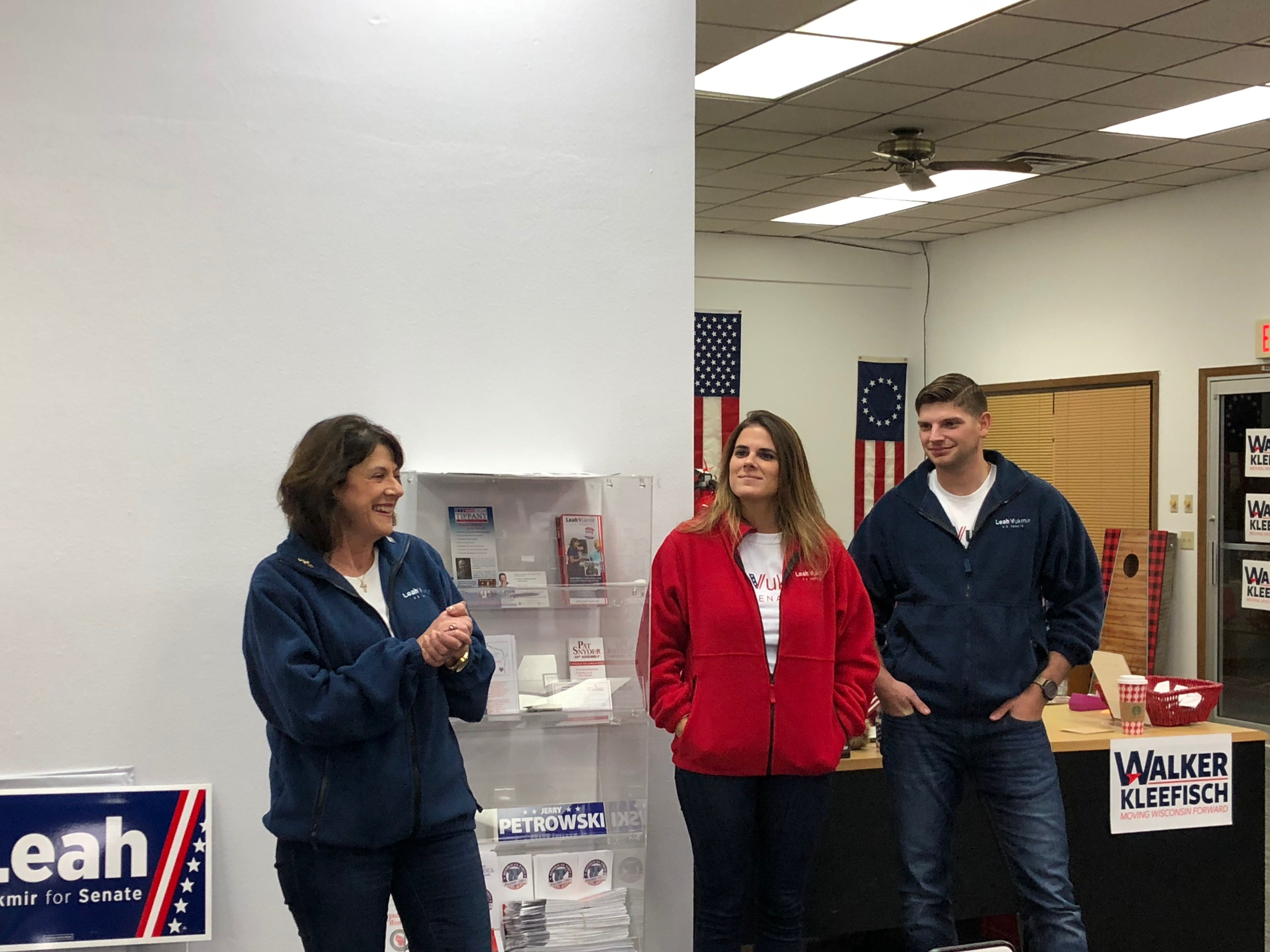 Leah Vukmir makes a campaign stop in Weston at the Marathon County Republican Campaign headquarters with her son and daughter on Nov. 5, 2018.