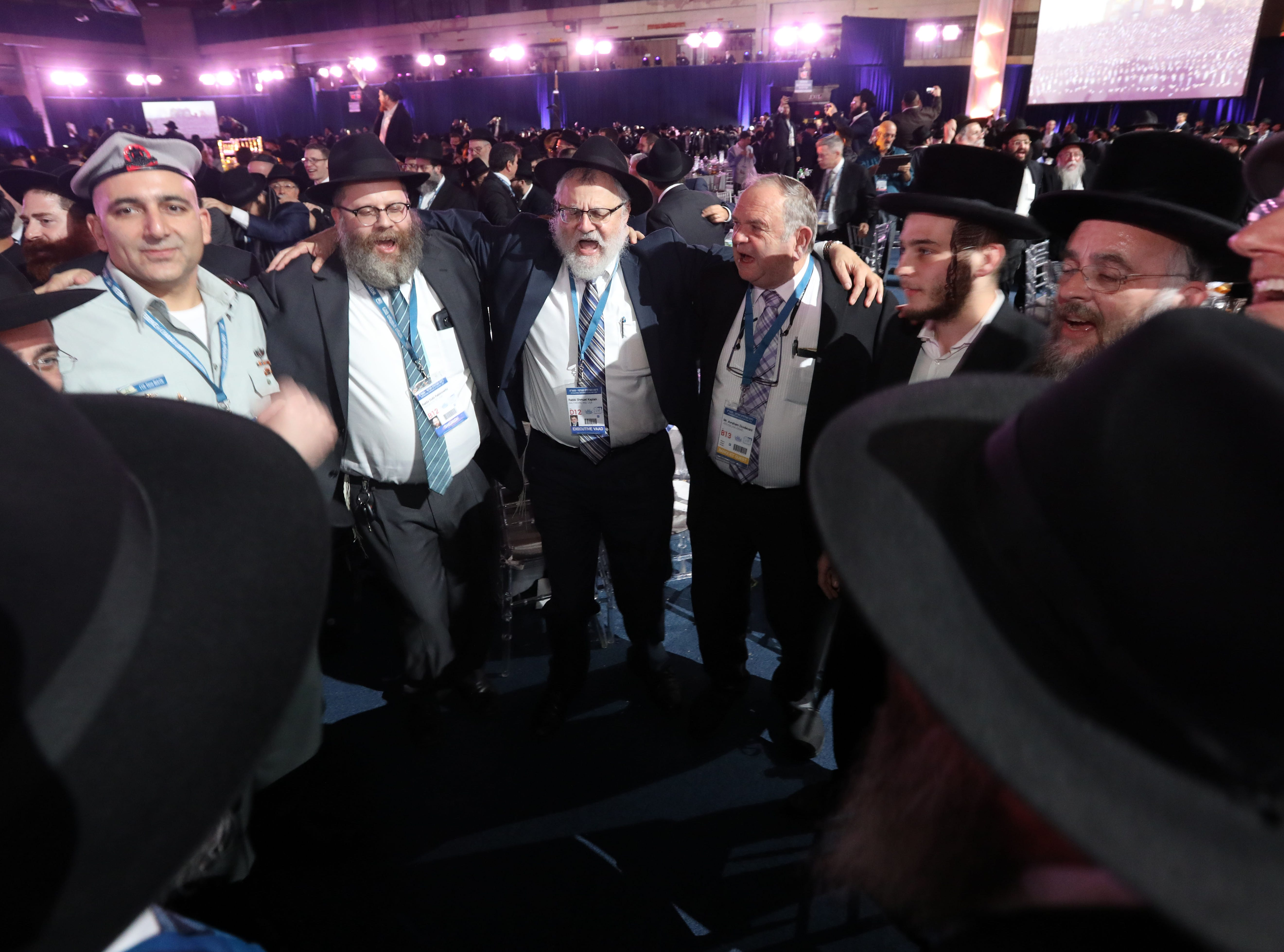 Rabbis dance during a gala at Rockland Community College Nov. 4, 1018 in Suffern. About 5,600 rabbis and their colleagues from 100 countries gathered in New York for an International Conference of Chabad-Lubavitch Emissaries.