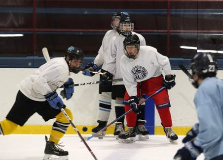 Suffern hockey players run a drill during their first practice of the season at Sport-O-Rama in Monsey Nov. 5, 2018.