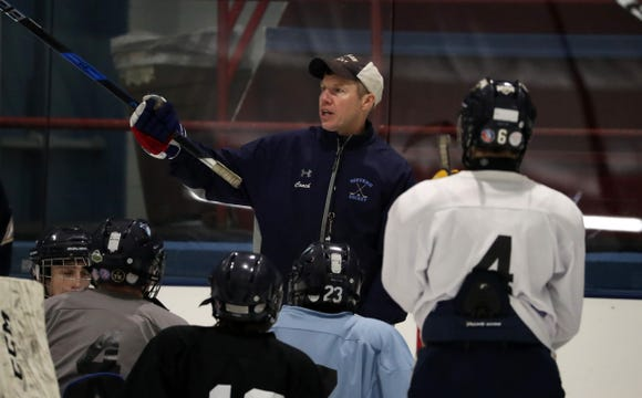Suffern hockey head coach Rob Schelling explains a drill during practice at Sport-O-Rama in Monsey Nov. 5, 2018.