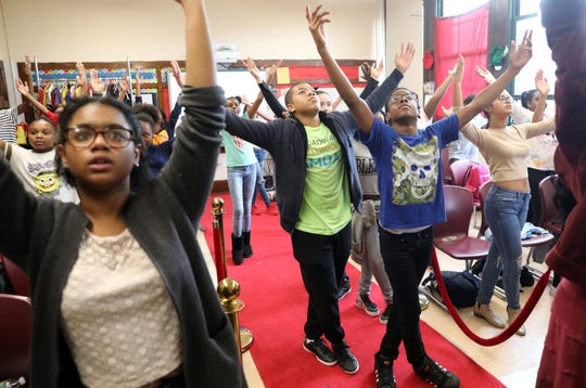 "Eighth-grader Judah Taylor, 14, center, dances in a musical theater class at Thornton High School which houses the Performing & Visual Arts Magnet School Nov. 5, 1018 in Mount Vernon. Taylor recently finished filming for a role in a Netflix original miniseries called ""Central Park 5."""