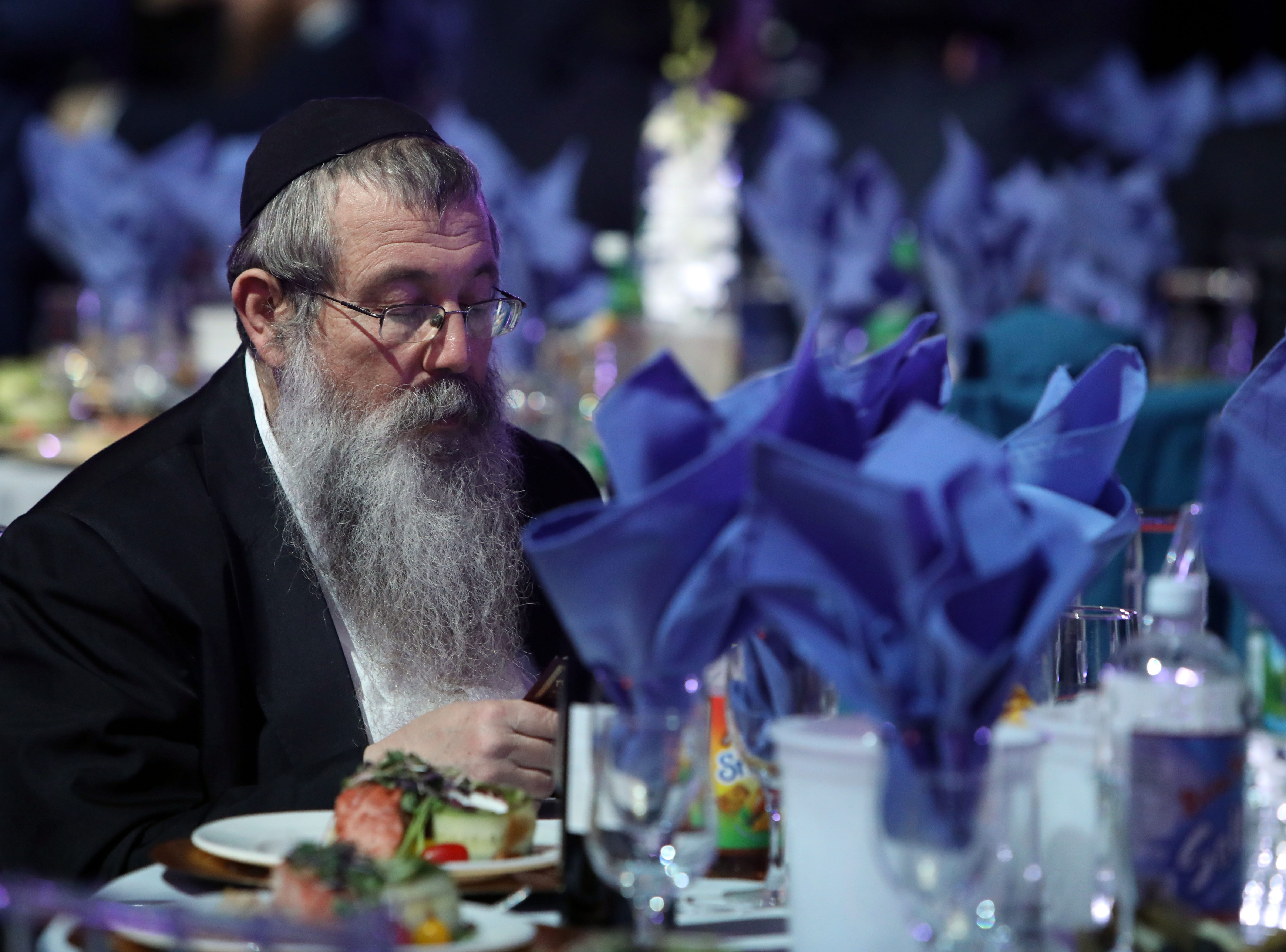 About 5,600 rabbis and their colleagues from 100 countries attend a gala at Rockland Community College Nov. 4, 1018 in Suffern as the culmination of an International Conference of Chabad-Lubavitch Emissaries in New York.