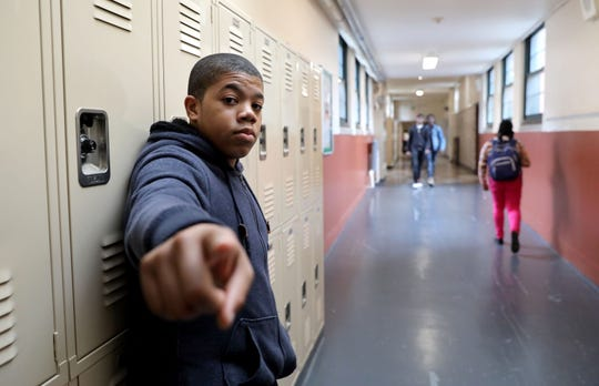 "Eighth-grader Judah Taylor, 14, who recently finished filming for a role in a Netflix original miniseries called ""Central Park 5"" at Thornton High School which houses the Performing & Visual Arts Magnet School Nov. 5, 1018 in Mount Vernon."