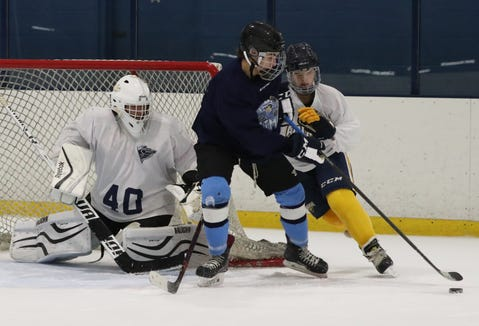 Suffern hockey players get ready for the season at Sport-O-Rama in Monsey Nov. 5, 2018.